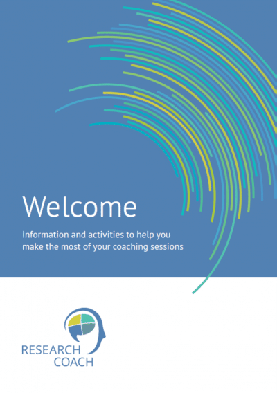 Front cover of the Research Welcome Booklet